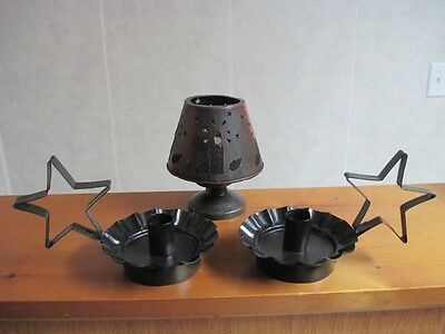 Primitive Rustic Country Black Star Taper Candle Holders & Tin Mesh Votive