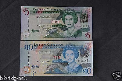 Eastern East Caribbean States $5 and $10 Dollar Banknotes P-47 P-52 UNC