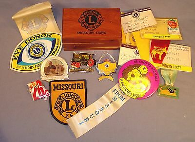16 Missouri Lions Items; Cedar Trinket Box, Window Decals, Pins, Delegate Badges