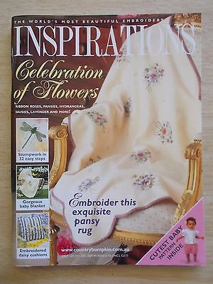 Inspirations #29~Embroidery Projects~Pansy Rug~Baby~Cushions~Etui~Damselfly....