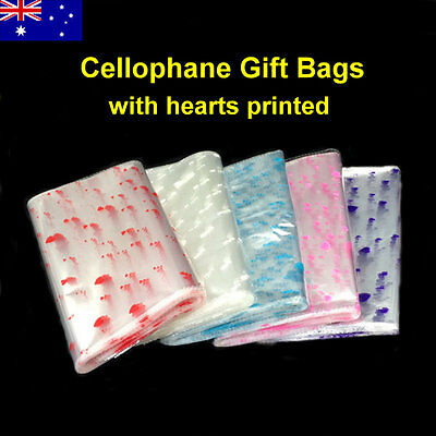 50pcs Small/Large Flat OPP Cellophane Cello Gift Food Bags- Hearts Printed