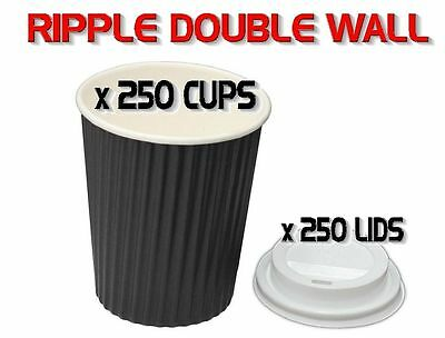 250 Set x 8oz Ripple Double Wall Coffee Cups + Lids BLACK Disposable 230ml