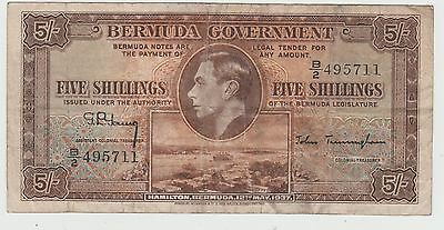 5 Shillings 1937 King George Vi Bermuda Banknote Currency-British Colonial