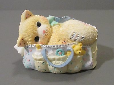 2001 Calico Kittens Kitten/Cat Laying in Diaper Bag Figurine #48866A