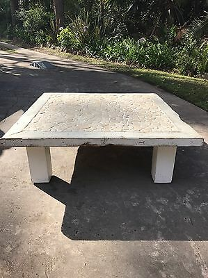 Rustic Beachy Timber Coffee Table With Stone Inlay