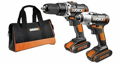 Worx 20v Twin Pack Cordless Drill And Impact Driver WX921 Kit With TWO BATTERIES