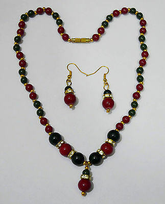 Indian Unique Design Pearl Costume Jewellery CZ Necklace Earrings Sets f44n10