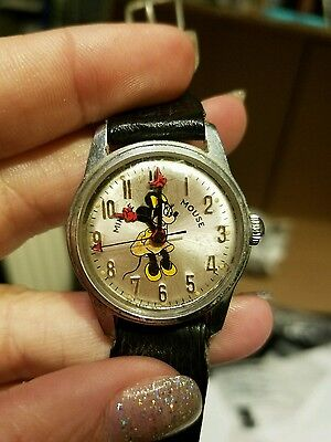 VINTAGE Minnie Mouse Watch by Helbros - Walt Disney Productions - Very RARE