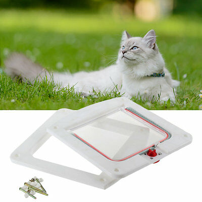4 Way Locking Lock Pet Cat Kitty Small Dog Doggy Puppy Flap Safe Door Tunnel#DB