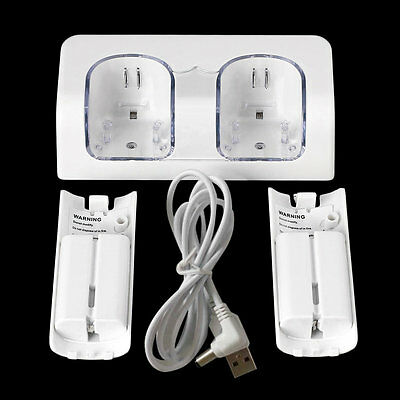 Dual Charger Station 2x 2800mAh Rechargeable Battery for Wii Remote Control~DX
