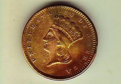 1858-86 US Gold $1 Dollar. Large Head Indian Princess Altered for Jewelry