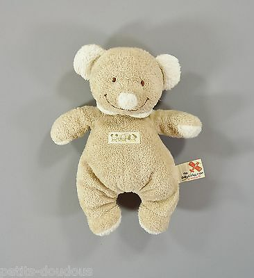 Doudou peluche Ours beige blanc Nicotoy 23 cm security blanket