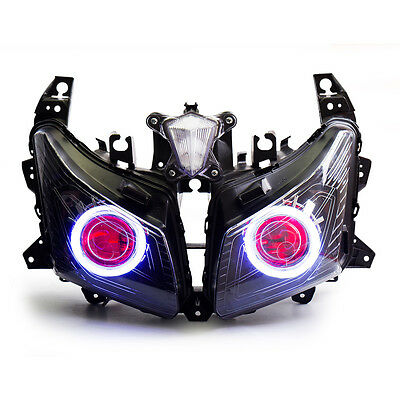 KT LED Angel Eyes HID Headlight Assembly for Yamaha Tmax530 2012 2013 2014 Red
