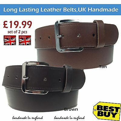 "Set 2 Pcs 25mm Brown Silver Buckle Long Lasting 1/"" Real Leather Belt Made In UK"