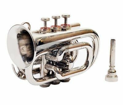 "BEAUTIFUL QUALITY SOUNDS'NEW CHROME FINISH""Bb POCKET TRUMPET+FREE HARD CASE+M/P"