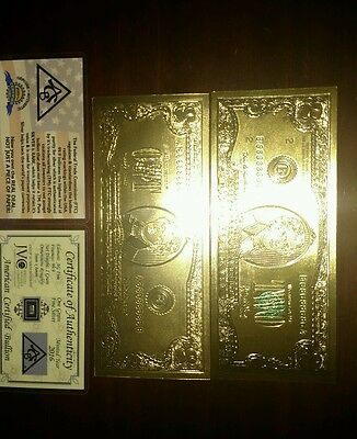 24K Pure Colorized .999 GOLD 2 Dollar Bill BANK NOTE + Pure Silver bar with COA