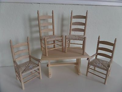 12th scale Bare wood job lot kitchen/dinning  table and chairs   dolls house