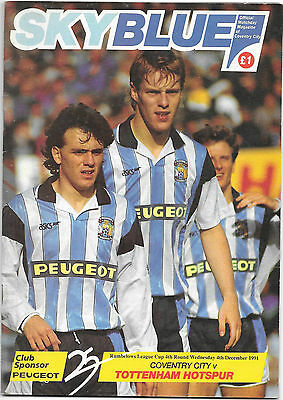 Coventry City v Tottenham Hotspur - Rubelows League Cup 4th Round 1991