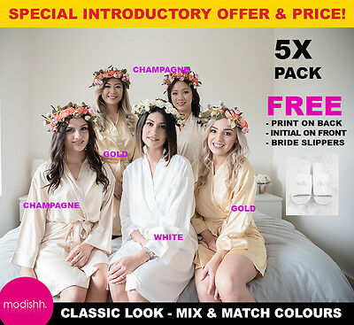 5x Pack White Gold Champagne Bridal Bride Bridesmaid Wedding Robe Dressing Gown