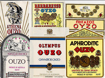 Vintage ouzo labels - Set of 6 assorted metric Ouzo labels  MINT