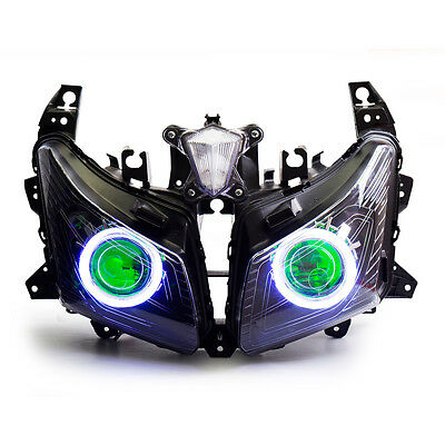 KT LED Angel Eyes HID Headlight Assembly for Yamaha Tmax530 2012 2013 2014 Green