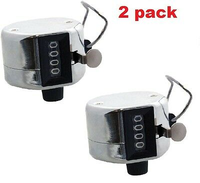 2pc X Hand Tally Counter Count Counting 0-9999 Zero Reset Button Thumb Ring