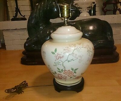 VINTAGE large Chinese 1960s hand painted ginger jar lamp, with wood stand signed