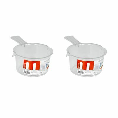 2 x Plastic Microwave It Polly Prop SaucePans Cooking Sauce Pans White - 500Ml