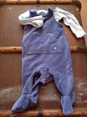 blue baby boy romper outfit set 0-3 months mothercare cute