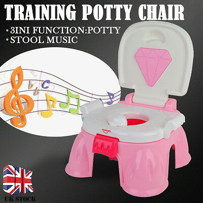 3in1 Portable Toddler Training Toilet Urinal Stool Seat Potty Chair & Music