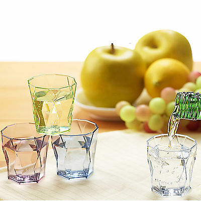 Drinking Glass Set Shot Cups Soju Liquor Whiskey Edge Drinking SAN Resins  4P