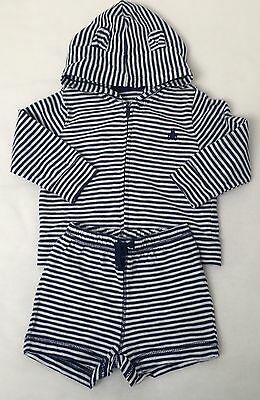 Gap Baby Boys Blue & White Stripe Zip Hoodie & Shorts Outfit - 6-12 Months