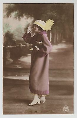 """POSTCARD - glamour & fashion """"Looking for Trouble"""" lady in long coat & hat"""