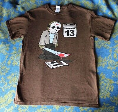 Friday the 13th Jason Voorhees Funny Sad Shirt Novelty Horror Size Small
