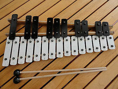 GENUINE VINTAGE XILOPHONE PERCUSSION STEEL BARS W/ MALLETS WORKING 1970s