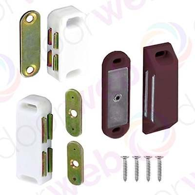 MAGNETIC DOOR CATCH Magnet Cupboard Cabinet Size S, M, L WHITE BROWN 2-10 PACK