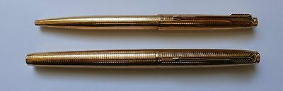 Vintage 14k Gold-Filled Parker 75 Insignia Fountain and Ballpoint Pen Set