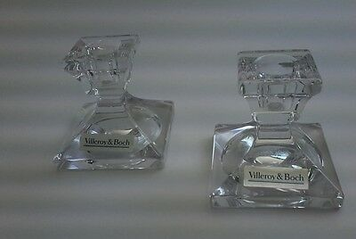 Pair of Villeroy and Boch Square Crystal Candle Holders