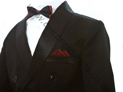 Boys Black Tuxedo Suit Dinner Jacket Trousers Shirt & Bow 6m to 14 Years