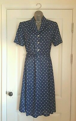 Vintage Blue and White Polkadot Dress With Belt Size 14