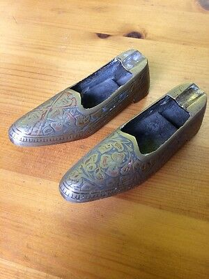 Brass Shoes Decorated Pair Of Brass Shoes Indian Ash Trays