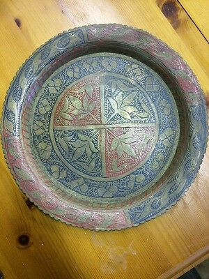 Decorative Brass Tray Red & Blue Indian