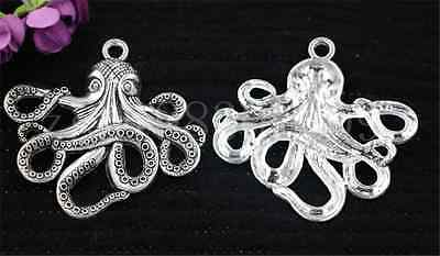 2pcs Tibetan Silver Lovely Octopus Jewelry Finding Charms Pendant 55x58mm