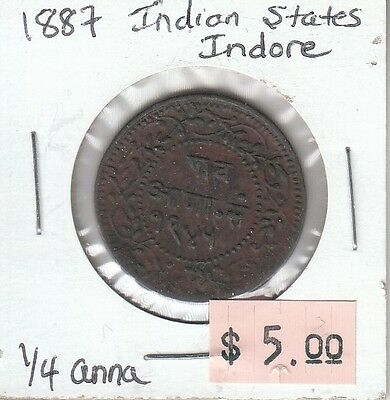 Indian States Indore 1/4 Anna 1887 Circulated
