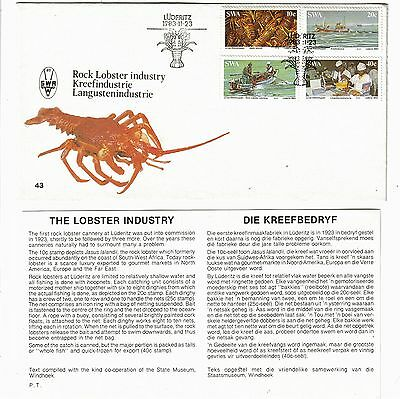South West Africa 1983 FDC Lobster Industry - set of 4 used stamps + plus insert
