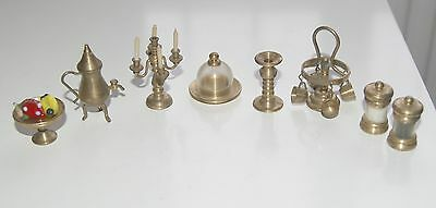 8 Vintage Dolls House Brass Miniature Collectables: Candelabra, Fruit Bowl, Dish