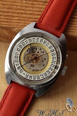 Steampunk Skeleton Style  Wrist Watch Classic Mechanical & Red Strap Slava  ж