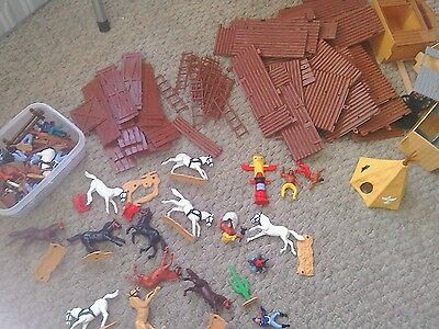 Large lot of vintage Timpo cowboys, indians, fort