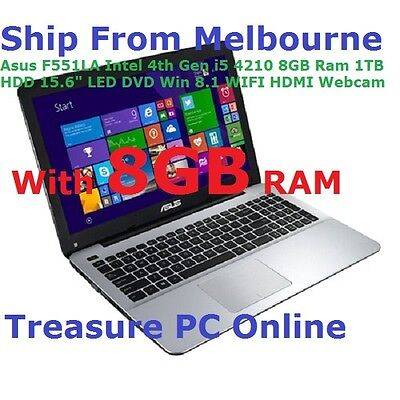 "Asus F555LA-XX283H Laptop Intel i5 4210U 8GB RAM 1TB HDD 15.6"" Win 8.1 DVD RW"