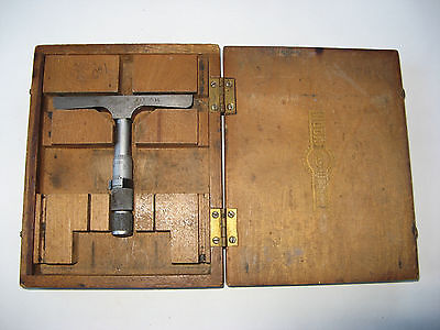 Moore and Wright depth micrometer. One inch. Imperial. Wooden Case